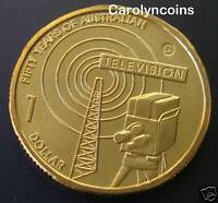 $1 Coin ,  2006 50 Year of Australian Television C Canberra Mintmark UNC in card