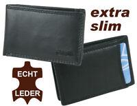 kleine Herren Leder Geldbörse schwarz Minibörse Geldbeutel  Hosentaschenformat