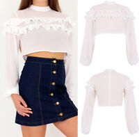 UK Womens High Neck Crop Top Blouse White Long Sleeves Ladies Top Size 6-14
