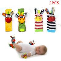 2 Pcs/Set Kids Cloth Socks Wrist Rattle Baby Educational Cartoon Animal Toy