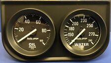 "Auto Meter Autogage 2392 Black Two Gauge 2"" Consol, Oil Pressure Water Temp"