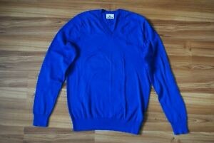 LACOSTE MENS V NECK LONG SLEEVE BLUE COLOR PULLOVER SWEATER SIZE 3 (XS-SMALL)