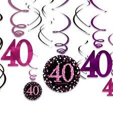 Metallic-Spiralen zum 40. Geburtstag, rundes Jubiläum, pink, 12er
