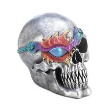 "silver lit skull skeleton DRAGON pirate eye patch 7"" Statue LED night light lamp"