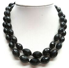 "Black Bead 17"" Necklace! 4017I Stunning Vintage Estate Double Strand"