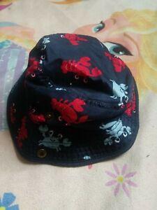 GYMBOREE Baby Boy 6/12 Months Hat Bucket Sun Cap Red/Navy FRIENDLY CRABS.