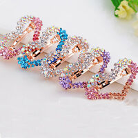 Fashion Women Crystal Rhinestone Heart Hair Barrette Clip Hairpin Girl Gift