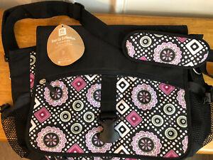 Pottery Barn Teen Gear Up Purple White Messenger Bag Book Bag Laptop Bag NWT