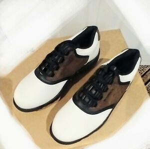 FootJoy Mens GreenJoys Golf Shoe Sz 8.5 W White and Brown Saddle Oxfords 45516