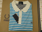 FRED PERRY Jersey Polo Men's STRIPE Pique Shirt SLIM Fit Blue Size XXL Top BNWT