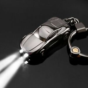 Car Keychain with 2 Modes LED Light Car Decorations Flashlight Gift for Men