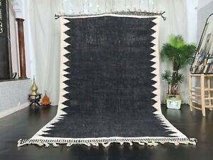 Moroccan Kilim Handmade Carpet 6'4x10'4ft  Abstract Berber Black White Wool Rug