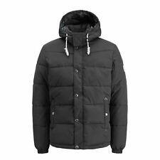 Mens Jacket Jack & Jones Figure Hooded Zip up Padded Bomber Coat Black Large