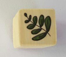Wood Backed Rubber Stamp Leaf Stem Leaves