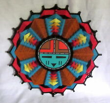 "15"" ROUND HOPI DAWA SUN KACHINA HAND CRAFTED ARTIST SIGNED 1995 YARN"