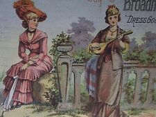 Fancy Ladies,Mandolin,Hat,Fashion-Victorian Trade Card-Broadhead Dress Goods-NY