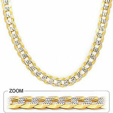 "9.60mm 24"" 71.00gm Solid 14k Gold Two Tone Cuban White Pave Men's Chain Necklace"