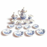 1/12th Dining Ware China Ceramic Tea Set Dolls House Miniatures Blue Flower F2S4