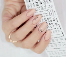 Letter Nail Art Water Decals Geometric Figure Nail Transfer Stickers