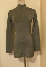 PRESTIGE PEWTER with METALLIC SILVER MOCK NECK LONG SLEEVE Top Size M