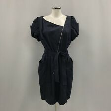 Karen Millen Dress UK 14 Dark Blue Denim Puff Sleeve Asymmetric Zip Front 262858