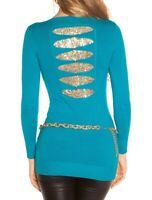 MAXI PULL CHEMISE BLEUE or maillot femme manche longue t-shirt paillettes AZ16