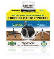 "Slipstick CB680 2"" Rubber Castor Wheels Office Chair Floor Protector Set of 5"