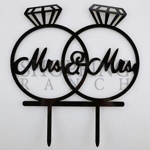 Wedding Cake Topper Mrs & Mrs in Wedding Rings Black Acrylic Decoration