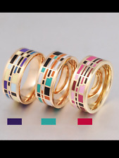 Ladies women's ring luxury Enamel Ring 18 kt Gold Plated