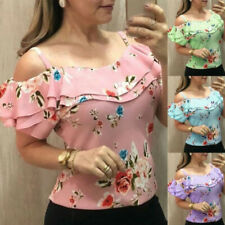 Women Floral Cold Shoulder T Shirt Short Sleeve Casual Blouse Tunic Summer Tops