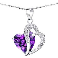 Mabella 5.71 TCW 12mm Heart Cut Created Amethyst Sterling Silver Pendant With 18 Chain