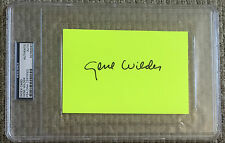 GENE WILDER Signed Index CARD WILLY WONKA Blazing Saddles YOUNG FRANKENSTEIN PSA