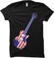 American Flag Guitar - USA Patriotic Womens T-shirt