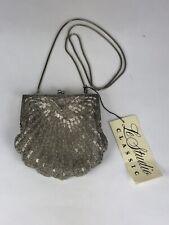Le Studio Classic Womens Beaded Silver Scallop Evening Handbag Purse