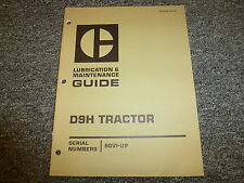 Caterpillar Cat D9H Tractor Shop Service Lubrication Maintenance Manual 90V1-Up