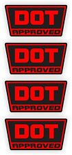 DOT Approved Motorcycle Helmet Stickers | Decals | D.O.T. Black & Red (4-pack)