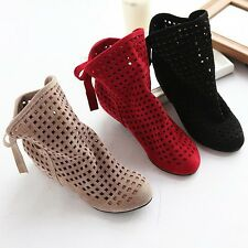 Women's Summer Round Toe Breathable Ankle Boots Flat Suede Hollow Out Shoes