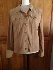JM Collection 12 Petite brown jacket Blazer Cardigan Lobg Sleeve Button Down