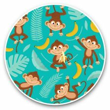 2 x Vinyl Stickers 30cm - Cute Monkey & Banana Pattern Kids  #44795