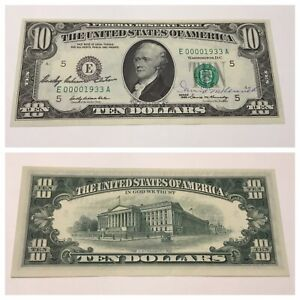 VINTAGE not SILVER CERTIFICATE 1933 A $10 BILL DUAL COURTESY AUTOGRAPH 1969 VNC