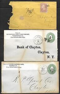 Vintage 3 -12/24/1878-19th CENTURY COVERS,  # 65 -3¢ Washington, BANK OF CLAYTON