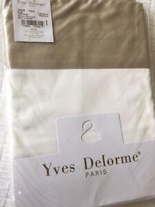 Yves Delorme COCON PIERRE BLANC SATIN King Superking FLAT Sheet LUXURY