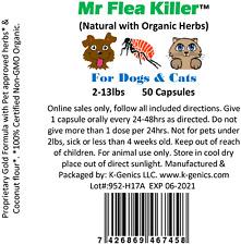 New listing 100 Cap All Natural Herbal Fast Flea Killer Control Dog Cat 2-13lb Guaranteed T1