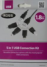 Kit de conexión USB, 5 en 1 Conectores, adaptadores, longitud del cable 1.8 M por Ross