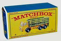Matchbox Lesney No 4  DODGE STAKE TRUCK style E Repro empty Box