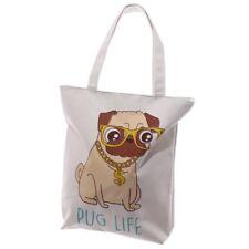 Pugs Life Shopping Bag Beach Reusable Cotton zipped Shoulder bags Tote Shopper