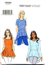 VOGUE SEWING PATTERN 9084 MISSES SZ 16-24 EASY FLOUNCE/PEPLUM TOPS IN PLUS SIZES
