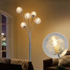 Modern Arc Floor Lamp Tall Pole Standing Floor Light with Globe Glass Lamp Shade