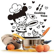 Happy Cooking Time w/ Cute Girl & Chef Cat Wall Sticker for Kitchen Decor Decal