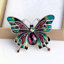 Large Butterfly Bridal Brooch Rhinestone Crystal Diamante Party Broach Pin 081